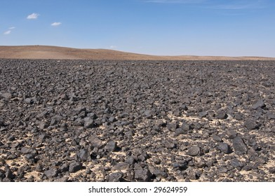 Black rocks in desert - Jordan, Middle East