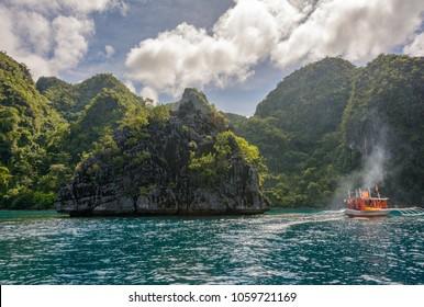 Black rocks of tropical island Coron, Palawan. Philippines