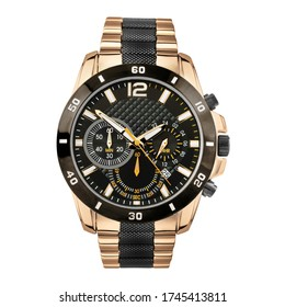 Black and Rose Gold Plated Chronograph Automatic Watch Isolated on White. Men's Accessories. Front View Sunburst & Stainless Steel Classic Wristwatch with Golden Strap, Black Dial, Day & Date Circa