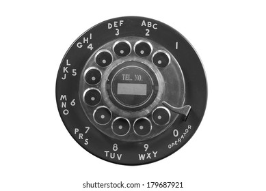 Black rotary phone dial plate isolated on white