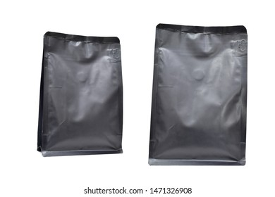 Black rough zipper pouches, Black foil bag for coffee/Blank Food or Snack Sachet Bag. isolated on white background. Selective focus