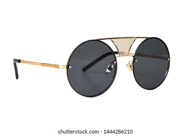 Black round aviator pilot style sunglasses with thin grid shape golden frame isolated on white background, Side View