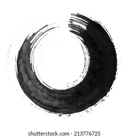 Black round calligraphic brush stroke