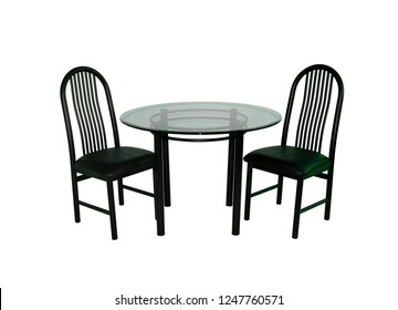 black round table with two chair