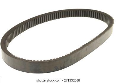 black rubber car belt isolated on white