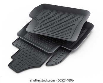 Black rubber car mats isolated on white background. 3D illustration.
