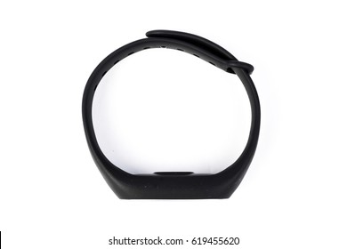 black rubber fitness tracker with monitor isolated on white background