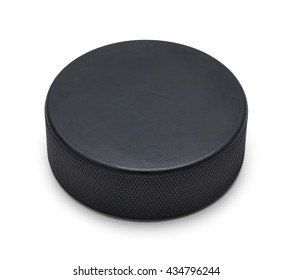 Black Rubber Hockey Puck With Copy Space Isolated on White Background.
