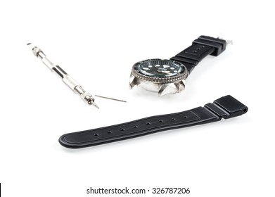 black rubber watch band, watch strap for dive watch