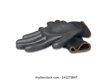 Black rubber work gloves isolated over white with clipping path.