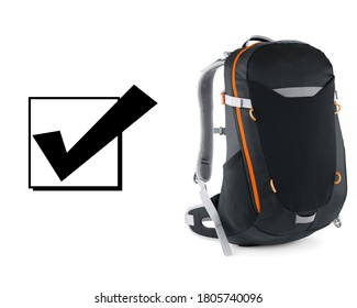 Black Rucksack Isolated on White Background. Travel Alpine Backpack. Trekking Daysack. Climbing Bag. Bouldering Day Pack. College Bag Side View. School Pack with Zippered Compartment