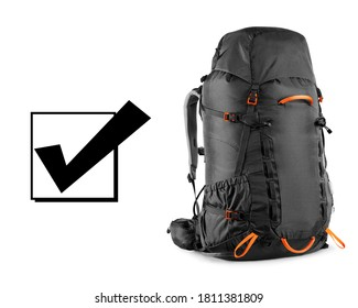 Black Rucksack Isolated on White Background. Modern Back Pack Side View. Travel Alpine Backpack. Bouldering Day Pack. Trekking Rucksack. Climbing Bag