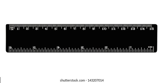 Black ruler isolated, inches, centimeters, millimeters, imperial and metric distance length units, cm and mm marks, detailed macro  closeup, white numbers on plastics