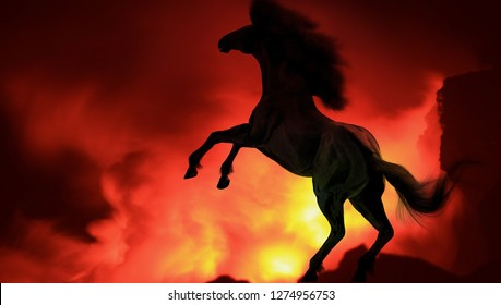 Black running horse on orange fire background