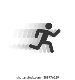 Black running man illustration with motion blur track,abstract running person silhouette symbol, modern simple sprinter trail shape, flat icon design isolated on white sign image