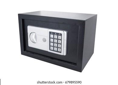 Black safe box on isolate background.