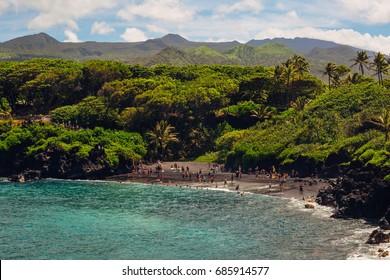 Black Sand Beach in Maui, Hawaii on the Road to Hana