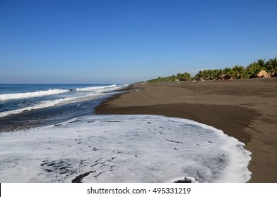 Black Sand Beach in Monterrico, Guatemala. Monterrico is situated on the Pacific coast in the department of Santa Rosa. Known for its volcanic black sand beaches and annual influx of sea turtles.