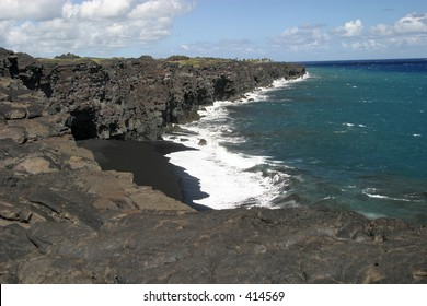 A black sand beach near Volcanoes National Park on the Big Island of Hawaii.