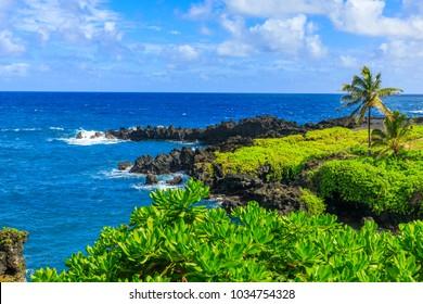 Black Sand Beach on the Hana Road, Maui, Hawaii, USA