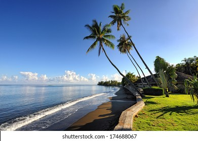 Black sand beach, Pirae, Papeete,Tahiti island, French Polynesia
