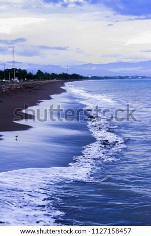 Black Sand Beach Punta Arenas Costa Stock Photo Edit Now