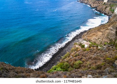 Black sand beach in Tenerife from above