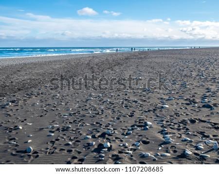Black Sand Diamond Beach Wave Snow Stock Photo Edit Now 1107208685