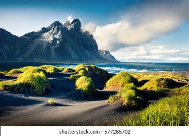 Black sand dunes on the Stokksnes headland on southeastern Icelandic coast with Vestrahorn (Batman Mountain). Colorful summer morning Iceland, Europe. Artistic style post processed photo.
