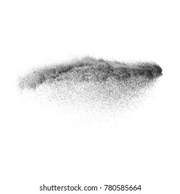 Black sand explosion isolated on white background. Abstract sand cloud. Black sand splash agianst on clear background. Sandy fly wave in the air.
