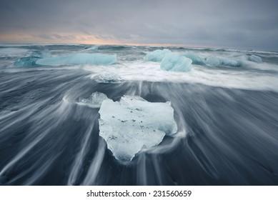black sand iceberg beach in south iceland
