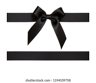 Black satin ribbon cut out isolated on white background, gift wrapping assets