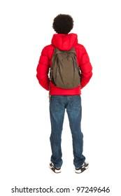Black school boy in red coat wit backpack on back side