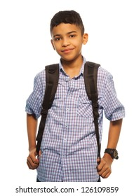 Black schoolboy with backpack - waist up portrait