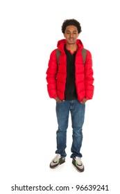 Black schoolboy in red coat wit backpack