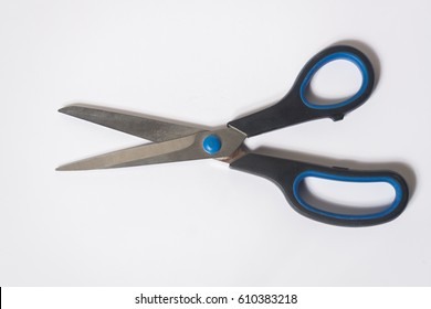 Black scissors isolated on white background