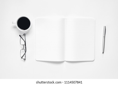 Black screen notebook blank and pen placed white background. Suitable for graphics used for advertising.