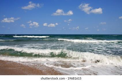 Black Sea, Bulgaria. Waves and clouds.