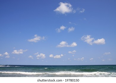 Black Sea, Bulgaria. Sea with waves and white clouds.