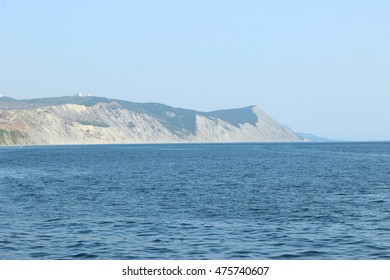 black sea coast. bald mountain. Beautiful blue sea in Anapa