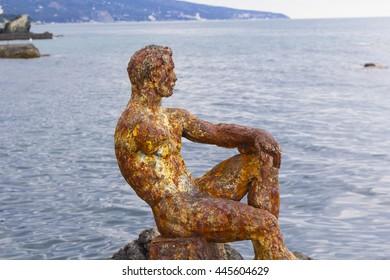 Black sea coast of Crimea, view 'Alyosha' - vintage sculpture of