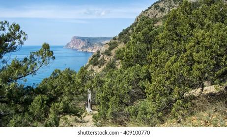 the Black sea and the huge Mountains, Balaklava, Crimea