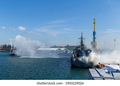 Black Sea International Naval Exercise Breeze 2018 Burgas, Bulgaria 7.19.18. Warships, planes and helicopters in combat training. a fire ship extinguishes a fire on another ship.