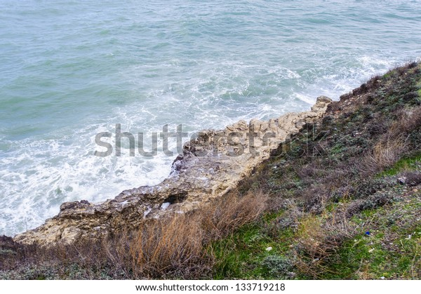 Black sea landscape and the rocks. Black Sea receives river water from large Eurasian fluvial systems to the north of the Sea, of which the Don, Dnieper and Danube are the most significant.
