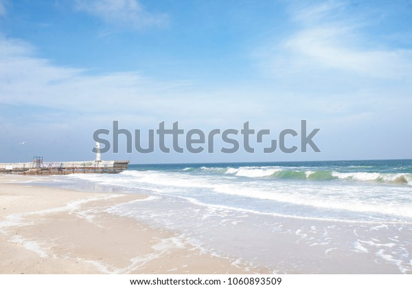 black sea in Odessa, beautiful beach and seagulls