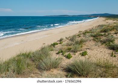 The Black sea shore South of Sozopol Bulgaria