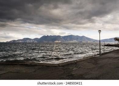 Black sea at stormy seaside