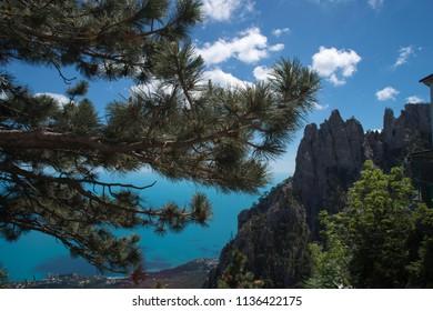 black sea view from AI-Petri Mountain, Crimea, Russia