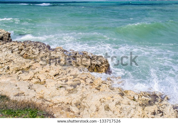 Black sea waves crash against the rock, the Black Sea water level is relatively high, thus water is being exchanged with the Mediterranean.