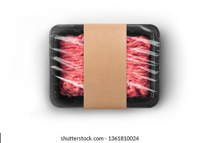 Black sealable plastic tray with craft paper label filled with fresh raw minced meat top-view. Packaging template mockup collection. With clipping Path included.
